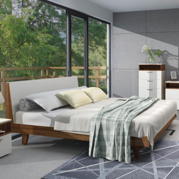 white matt gloss and walnut veneer bedroom furniture sets with solid wood leg