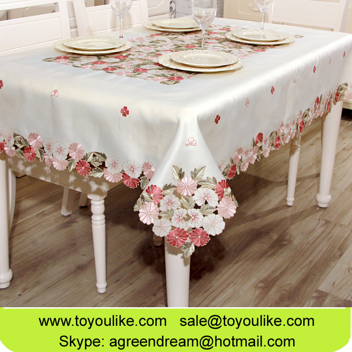 Toyoulike Exquisite Home Decor Tablecloth Beige Cutwork Embroidery Floral Table Cloth Rectangle