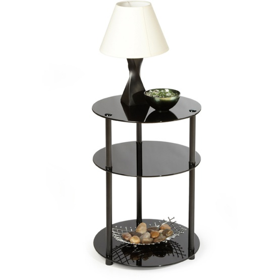 Convenience Concepts Black Classic Glass 3-Tier Round Table