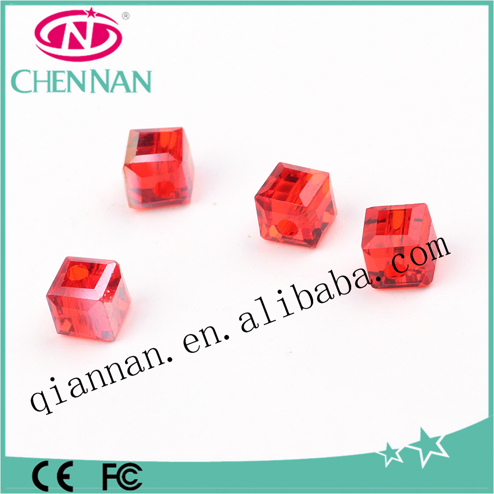 2017china new style high quality red cube spacer glass blasting beads