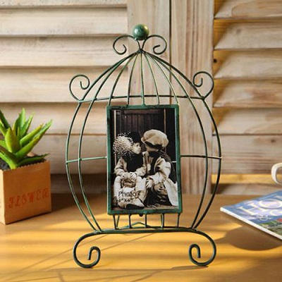 Metal Decorative Tabletop Birdcage Design Shabby Chic Iron Picture Photo Frame