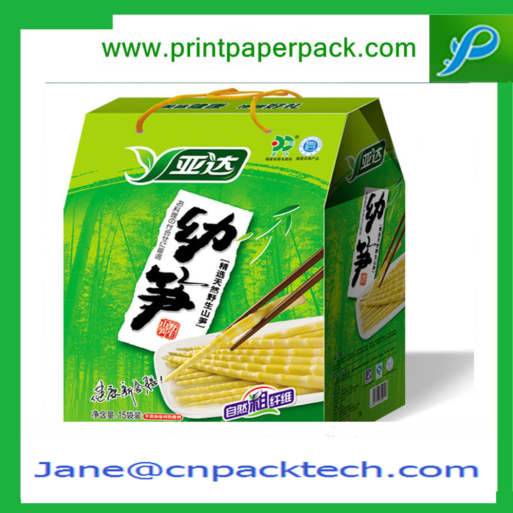Custom Printed Rigid Cardboard Packaging Box Noodle Packing Box with Ribbon