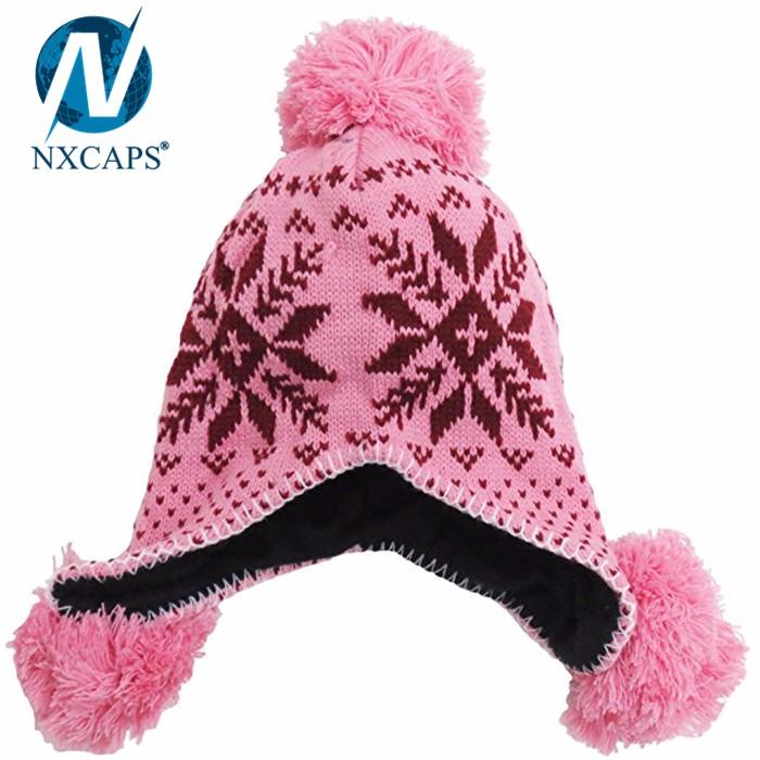 2017 custom jacquard fabric 5 panel hat earflap Russian style fur hand wholesale trappert hat