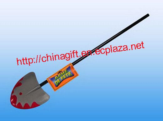 Long handled blood spattered spade / shovel