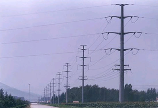 Double circuit polygon power transmission line steel pole