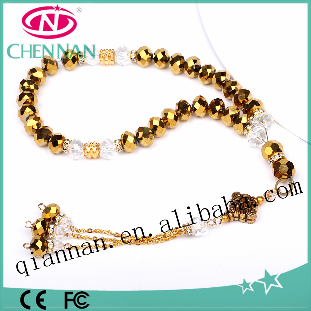 33 grain fashion gold plating rondelle beaded catholic digital rosary for sale