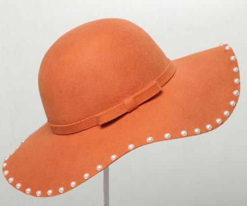 Women Wool Wide Brim Felt Hat Bowler Wool Felt Hat