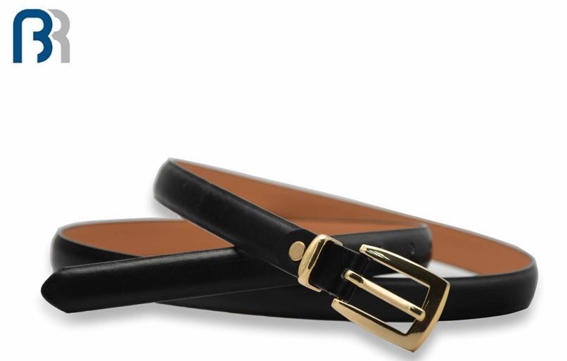 Ladies Black Skiny Feather Belt