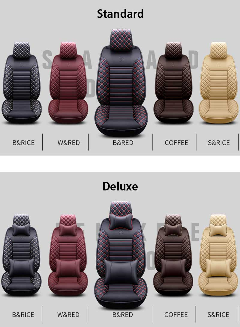 Leather Universal Car Seat Covers For 5-Seat Cars 5 colors