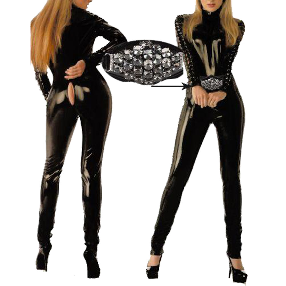 Womens Leather Catsuit Costumes Clubwear Zipper Front Jumpsuit