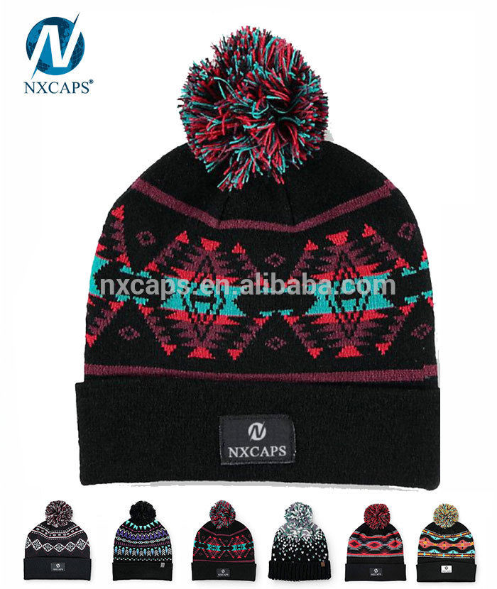 2017 Custom Wholesale jacquard knitted beanie hats with top ball nxcaps factory