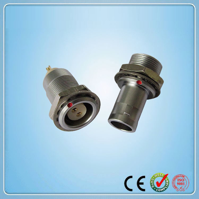 Metal fixed cable plug, fixed receptacle, cross lemo 2 pins connector:FAG.0B.302 EGG.0B.302