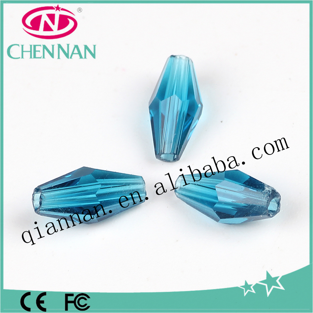 hot sale lampwork blue bicone crystal cracked decorative beads