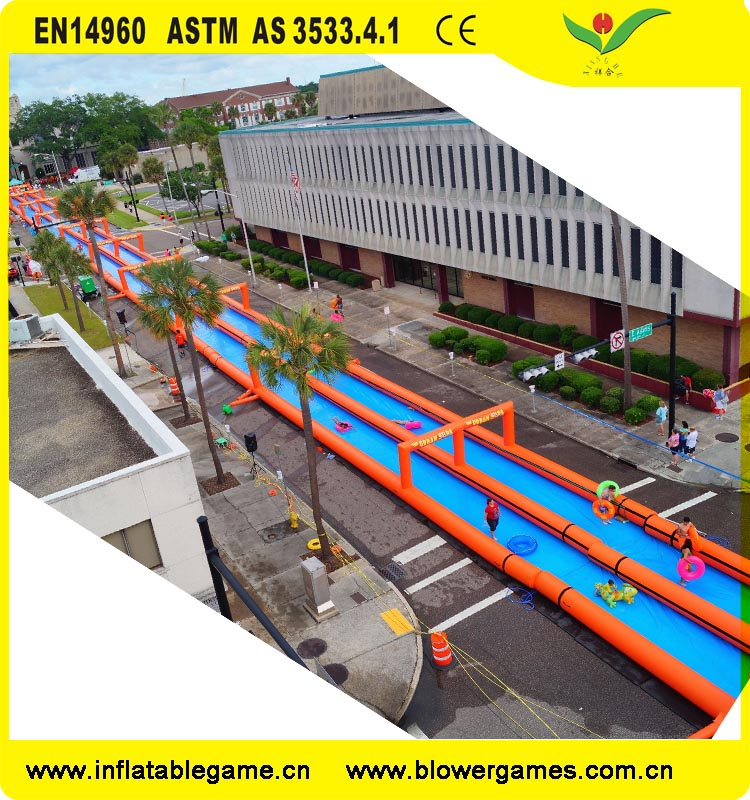 Large entertainment inflatable water slides outdoor inflatable street slideway