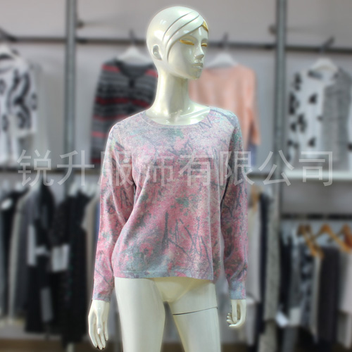 Womens Rose Red Printing Sweater Fall/Winter Ladies Pretty Fashion Knit Pullover Handsome Tops