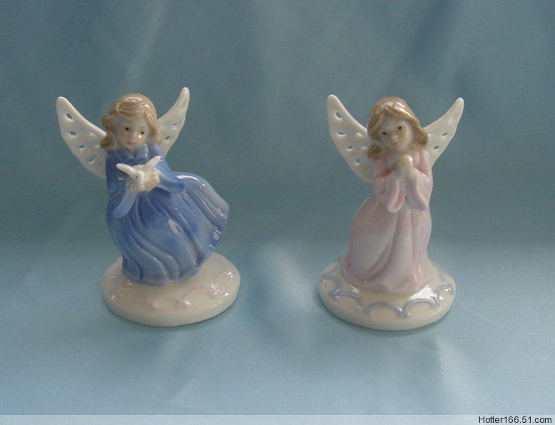 Ceramic Angel Figurines Holding Pigeon Praying, Ceramic statues