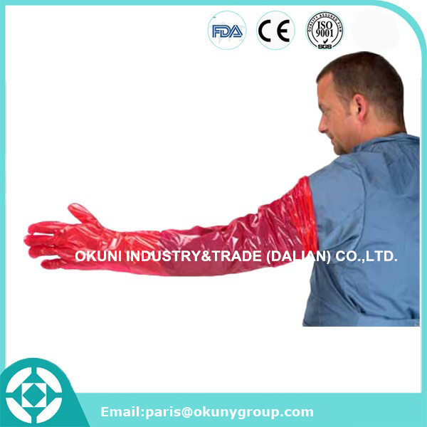 PE full sleeve disposable long veterinary cattle insemination gloves for animalcattle insemination