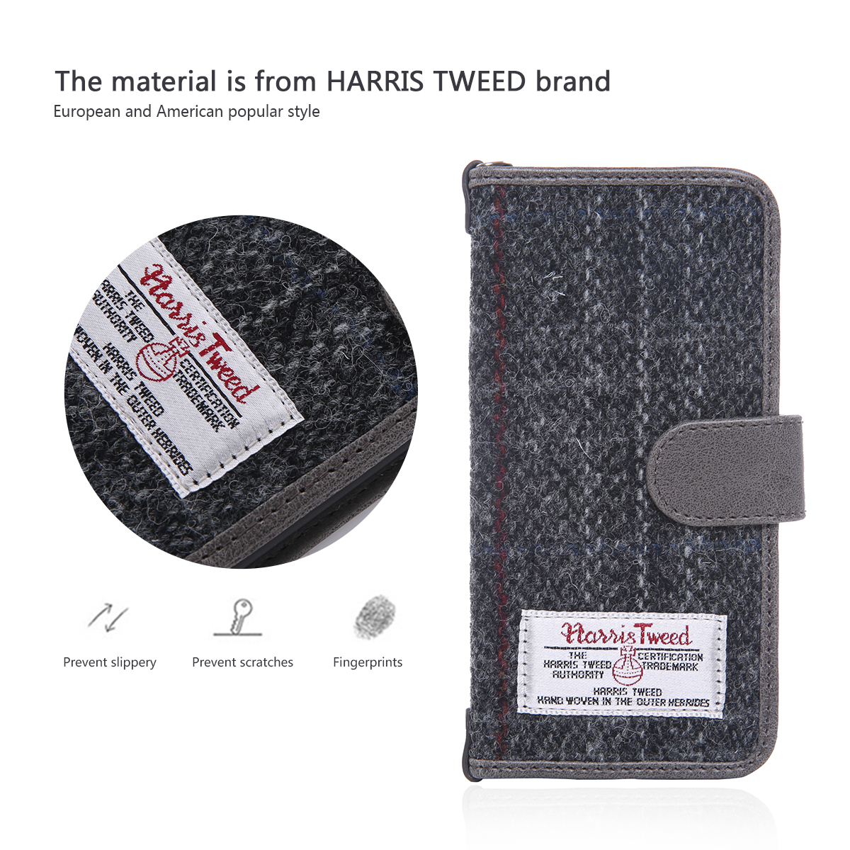 Harris Tweed Fabric Wallet Retro Royal Phone Case Cover For iPhone 6 6S