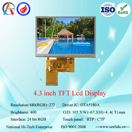 low cost 4.3 inch tft lcd display 480x272 with capacitive touch