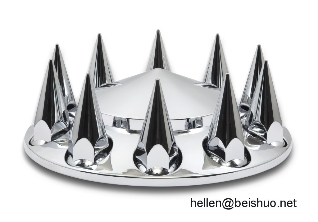Chrome Abs Plastic Rear Axle Cover W/33Mm Extra-Long Spike Lug Nut Covers