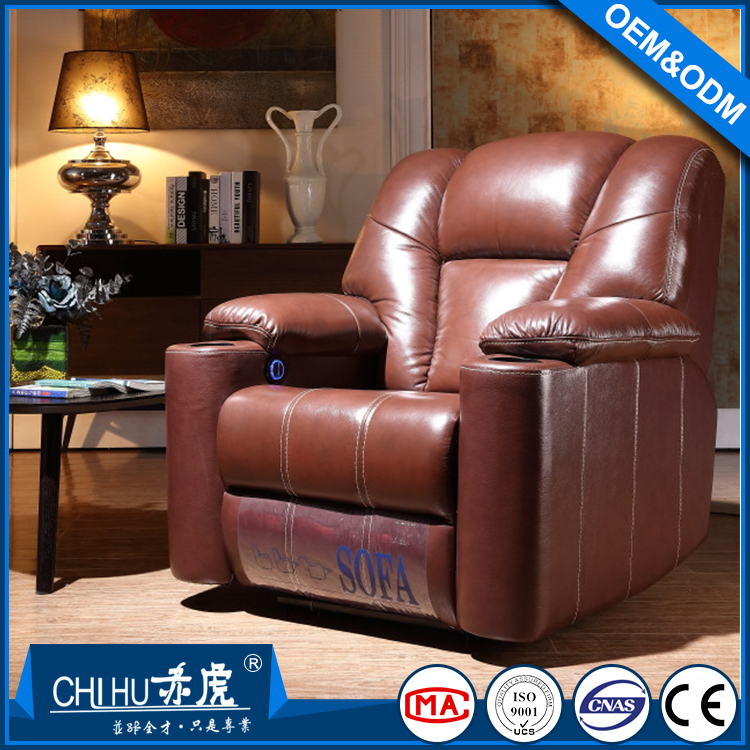 Factory supply high quality top grain leather VIP cinema sofa
