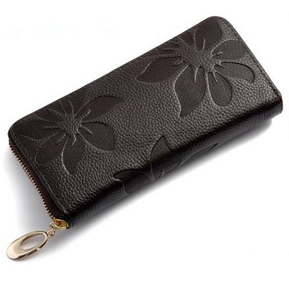 Women Wallets Fashion Flower Print Genuine Leather Wallets Women Clutch
