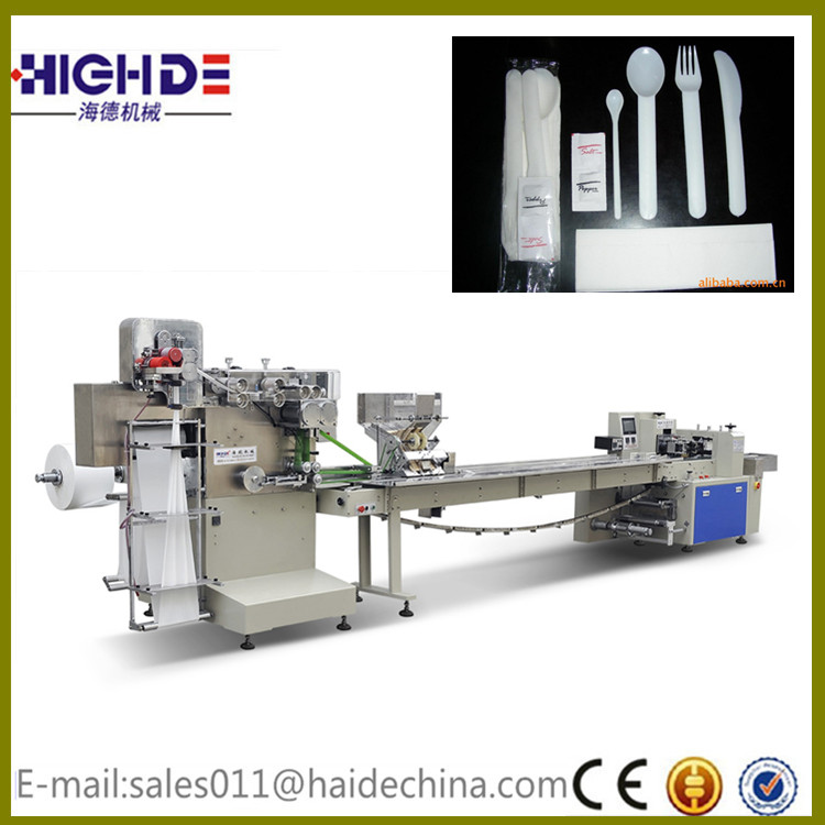 2017 hot sale aviation cutlery automatic feeding and packing machine high quality