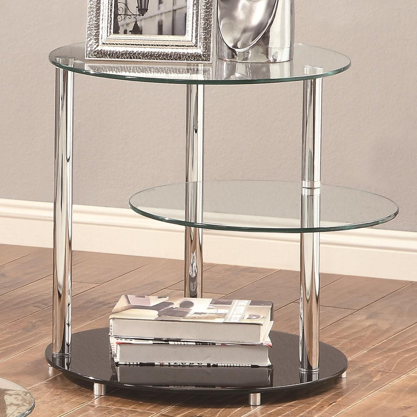Glass End Table round table black and clear round end table