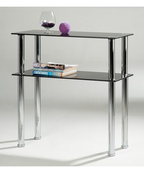 Black Glass & Chrome Side Table & Entertainment Stand