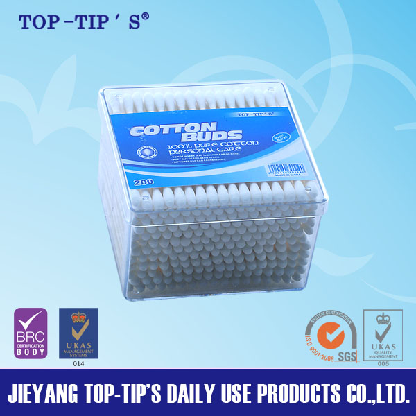 Paper stick pure cotton buds in PP box