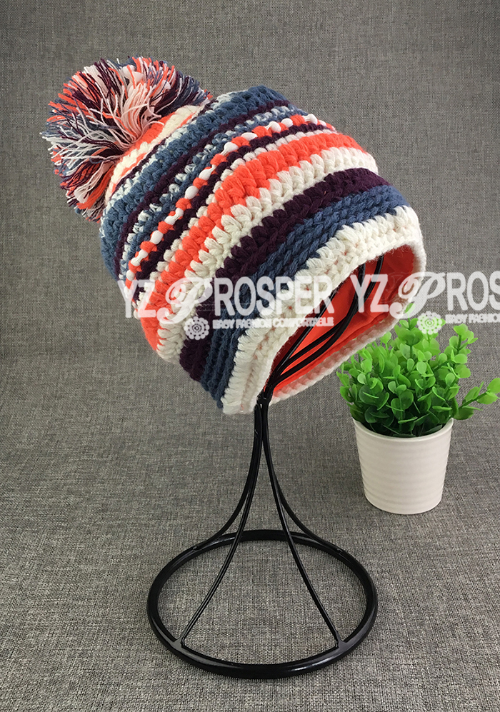 Custom 100% Knit Beanies With Pompom,Wholesale Winter Hats