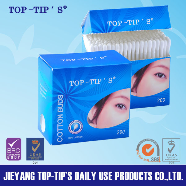 Cotton Buds 200pcs/box pack with color box