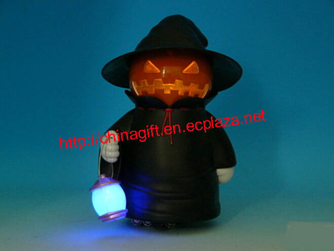 Electric auto moving pumpkin witch lamp