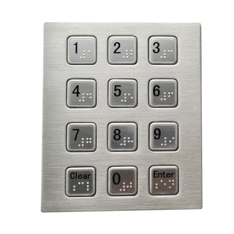 12 keys stainless steel USB keypad with panel mounted and Braille dots