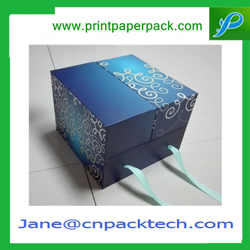 High-end Design Gift Packaging Box Fancy Color Box Custom Foldable Rigid Set-up Boxes with Ribbon