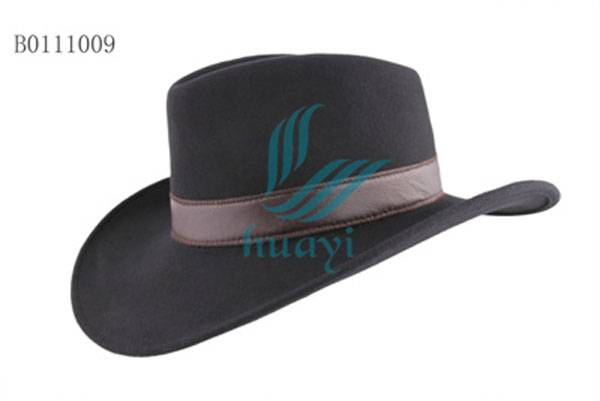 Men's black wool felt cowboy hat for cheap sale with leather belt