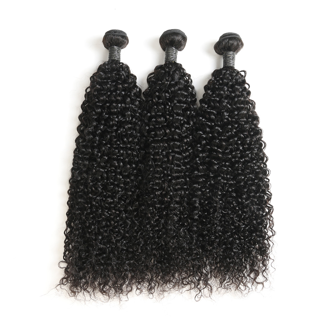 9A Indian Jerry Curly Human Virgin Hair Weave 3 Bundles With Lace Closure