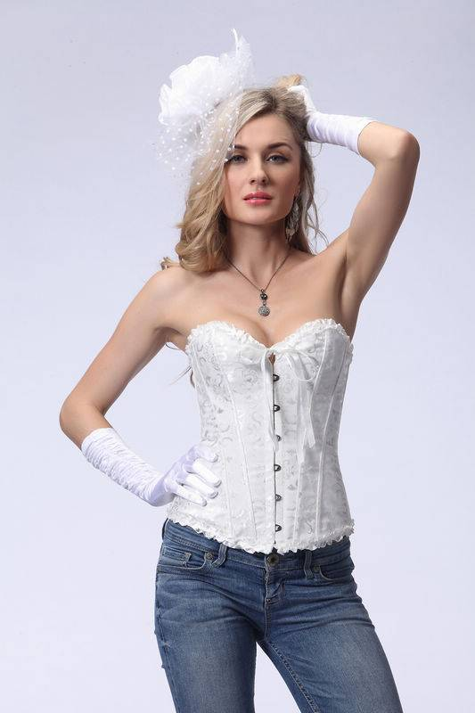 Sexy Women White Wedding Overbust Corset