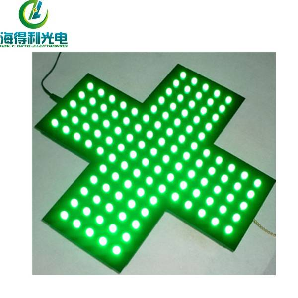 LED green acrylic cross sign for Italy