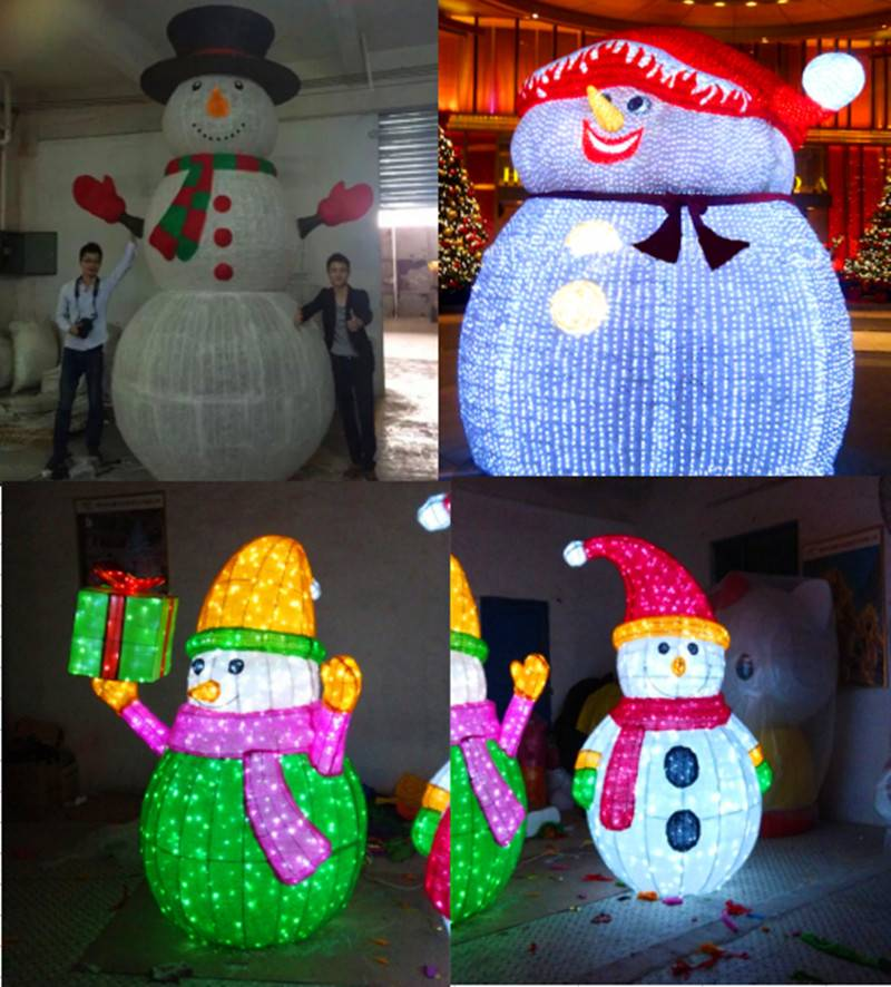 H:3M led lighted motifs artificial snowman customized
