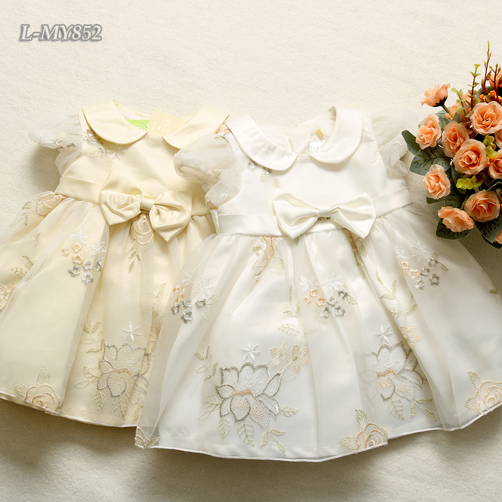 Luxury princess tulle dress children clothes cutwork embroidery dress for 2-10 year old girls