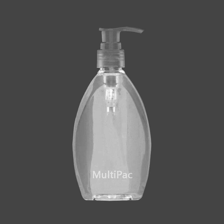 250ml flat oval PET bottle with lotion pump for shampoo body wash