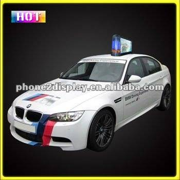 Led taxi advertising display/car top roof light box advertising with magnetic base