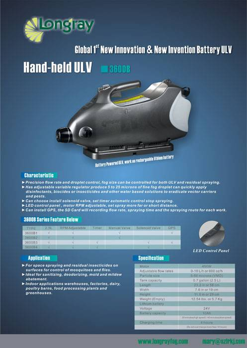 Handheld battery ULV cold fogger 3600B