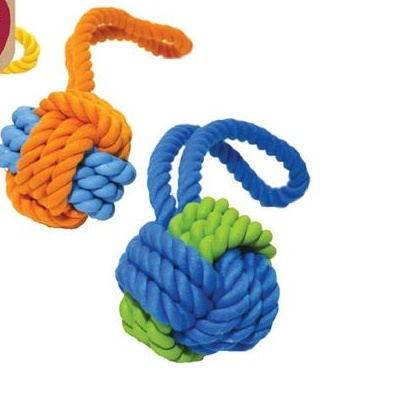 Dog toy Tough Twist Rubber & Rope Ball Tug 11