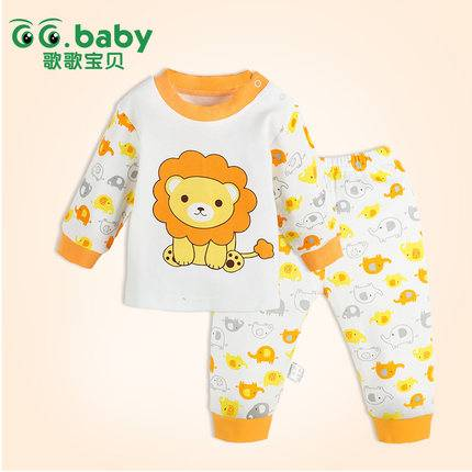 2015 New Cotton Baby Boy Girl Clothes Sets Lion Long Sleeved Tops+Pants Newborn Clothing Suits