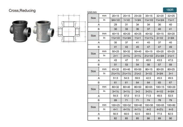 China Malleable iron pipe fitting Reducing Cross-180R with high quality and proper price