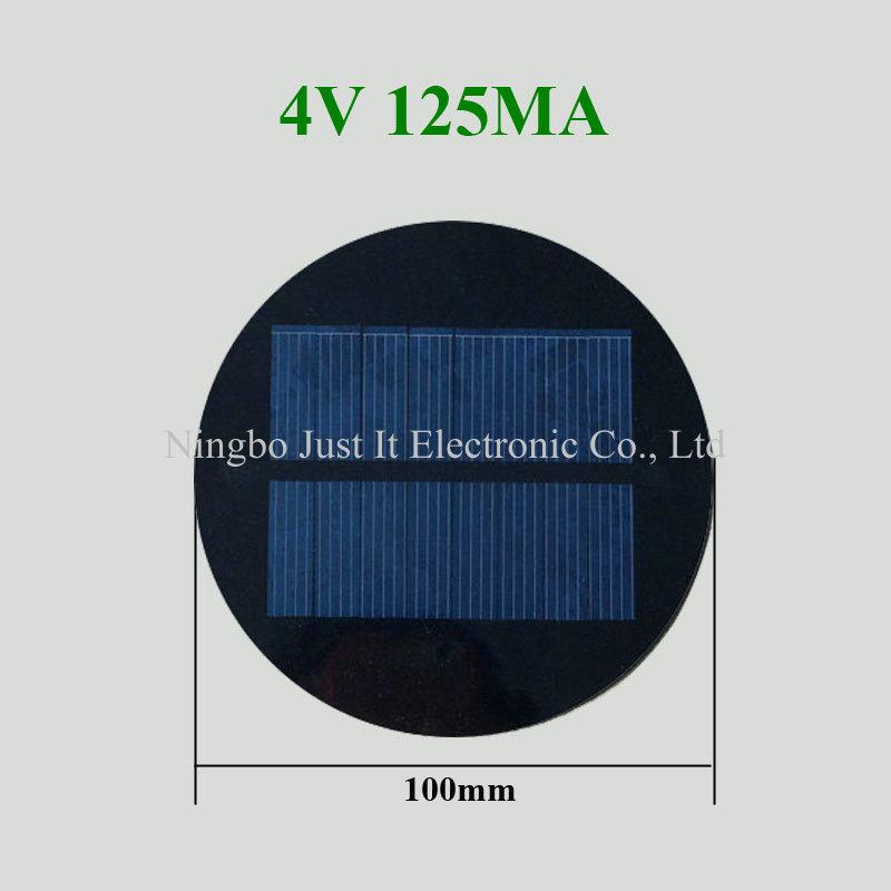 4V 125mA 0.5W Diameter 100mm Epoxy Round Solar Panel