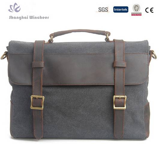 manufacturer canvas men messenger bag with trim leather