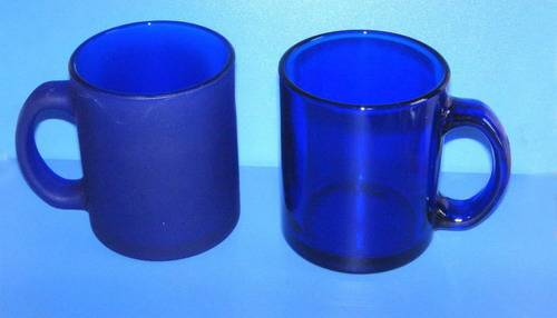 blue glass cup with handle